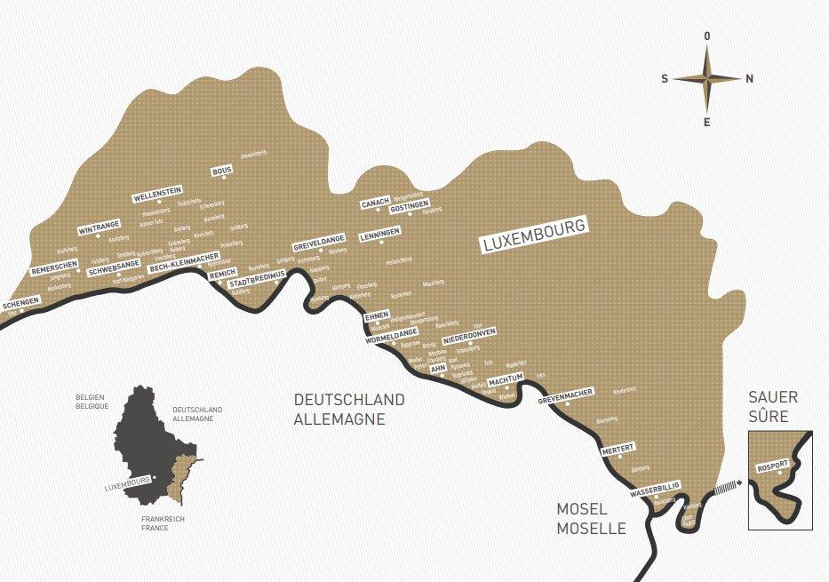 Carte de la Moselle luxembourgeoise