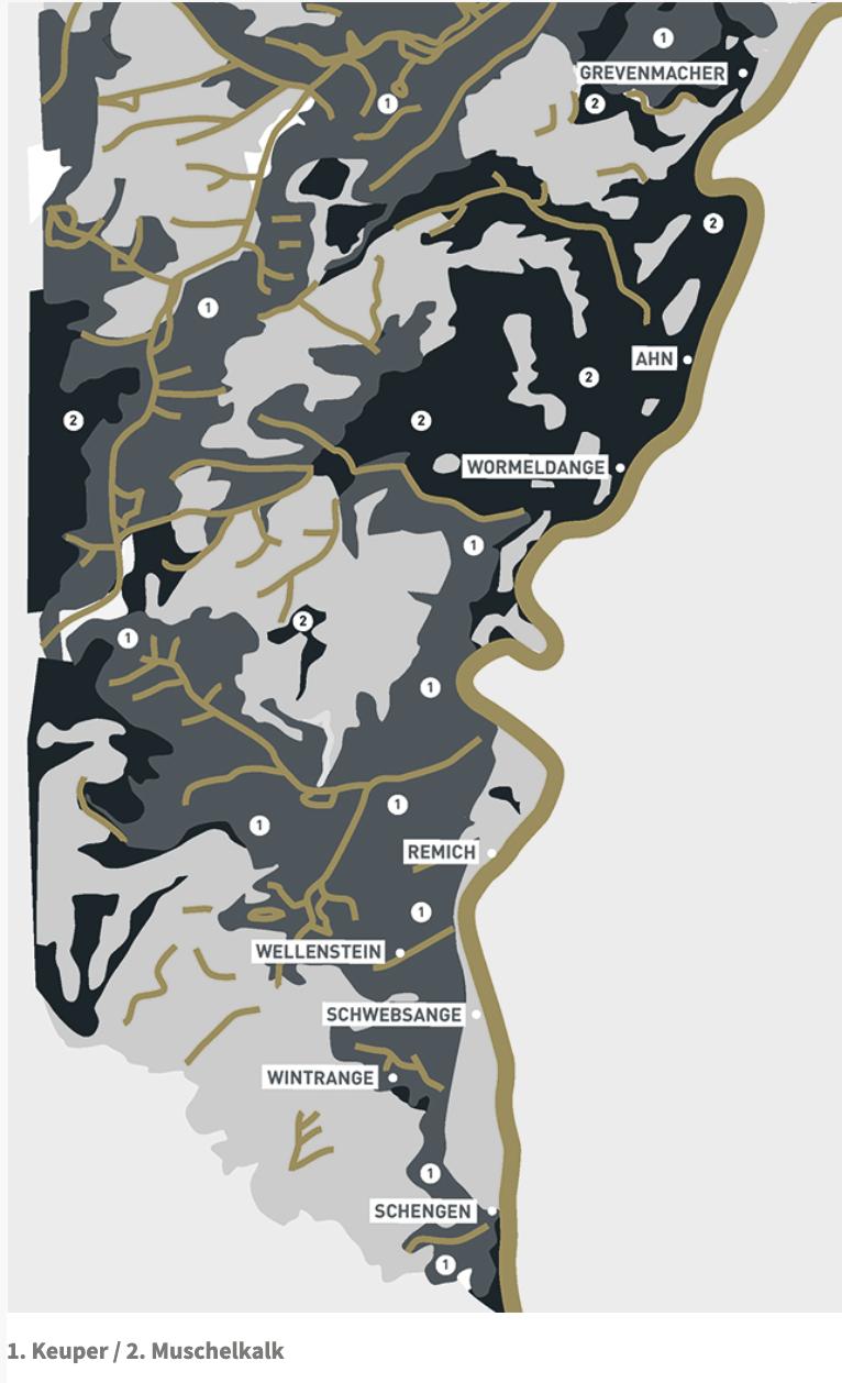 Carte formation rocheuse de la Moselle Luxembourgeoise