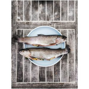 two silver fishes on round white ceramic plate